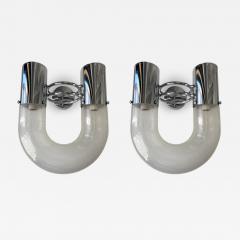 Aldo Nason Pair of U Sconces Metal Murano Glass by Aldo Nason for Mazzega Italy 1970s - 2021516