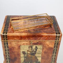 Aldo Tura 1950s Aldo Tura Goatskin Bar Cabinet with Serving Tray - 521574
