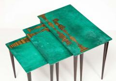 Aldo Tura 3 Piece Emerald Leather Nesting Table Set by Aldo Tura - 1664080