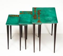 Aldo Tura 3 Piece Emerald Leather Nesting Table Set by Aldo Tura - 1664102