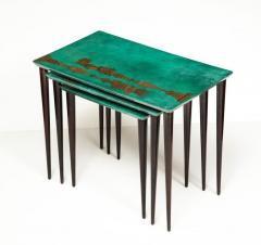 Aldo Tura 3 Piece Emerald Leather Nesting Table Set by Aldo Tura - 1664103