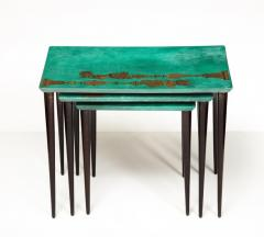 Aldo Tura 3 Piece Emerald Leather Nesting Table Set by Aldo Tura - 1664108
