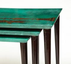 Aldo Tura 3 Piece Emerald Leather Nesting Table Set by Aldo Tura - 1664122