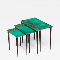 Aldo Tura 3 Piece Emerald Leather Nesting Table Set by Aldo Tura - 1829518