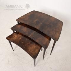 Aldo Tura Aldo TURA Nesting Tables Lacquered Brown Goatskin Italian Mahogany MILAN 1960s - 1542837