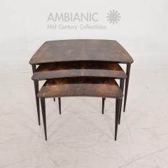Aldo Tura Aldo TURA Nesting Tables Lacquered Brown Goatskin Italian Mahogany MILAN 1960s - 1542840