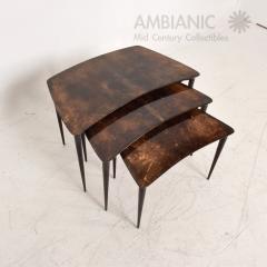 Aldo Tura Aldo TURA Nesting Tables Lacquered Brown Goatskin Italian Mahogany MILAN 1960s - 1542842