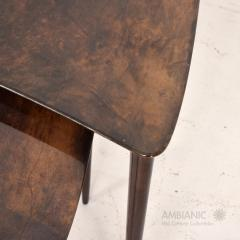 Aldo Tura Aldo TURA Nesting Tables Lacquered Brown Goatskin Italian Mahogany MILAN 1960s - 1542843
