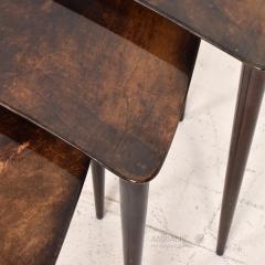Aldo Tura Aldo TURA Nesting Tables Lacquered Brown Goatskin Italian Mahogany MILAN 1960s - 1542844