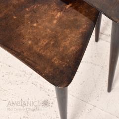 Aldo Tura Aldo TURA Nesting Tables Lacquered Brown Goatskin Italian Mahogany MILAN 1960s - 1542845