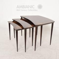 Aldo Tura Aldo TURA Nesting Tables Lacquered Brown Goatskin Italian Mahogany MILAN 1960s - 1542846