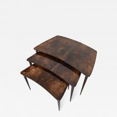 Aldo Tura Aldo TURA Nesting Tables Lacquered Brown Goatskin Italian Mahogany MILAN 1960s - 1543614
