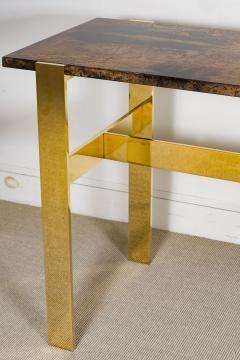 Aldo Tura Aldo Tura Console Table with Contemporary Mirror Polished Bronze Base - 448054