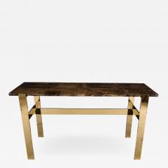 Aldo Tura Aldo Tura Console Table with Contemporary Mirror Polished Bronze Base - 448288