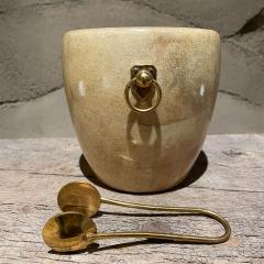 Aldo Tura Aldo Tura Golden Goatskin Leather Brass Ice Bucket Tongs ITALY 1950s Milano - 2087147