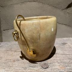 Aldo Tura Aldo Tura Golden Goatskin Leather Brass Ice Bucket Tongs ITALY 1950s Milano - 2087148