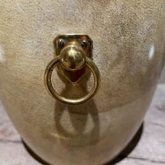 Aldo Tura Aldo Tura Golden Goatskin Leather Brass Ice Bucket Tongs ITALY 1950s Milano - 2087150