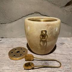 Aldo Tura Aldo Tura Golden Goatskin Leather Brass Ice Bucket Tongs ITALY 1950s Milano - 2087151