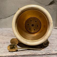 Aldo Tura Aldo Tura Golden Goatskin Leather Brass Ice Bucket Tongs ITALY 1950s Milano - 2087153