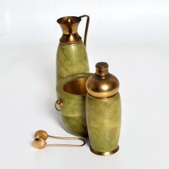 Aldo Tura Aldo Tura MACABO Bar Set Ice Bucket Carafe Shaker Goatskin Brass ITALY 1950s - 1986070