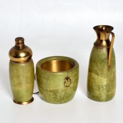 Aldo Tura Aldo Tura MACABO Bar Set Ice Bucket Carafe Shaker Goatskin Brass ITALY 1950s - 1986073