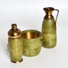 Aldo Tura Aldo Tura MACABO Bar Set Ice Bucket Carafe Shaker Goatskin Brass ITALY 1950s - 1986074