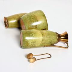 Aldo Tura Aldo Tura MACABO Bar Set Ice Bucket Carafe Shaker Goatskin Brass ITALY 1950s - 1986076