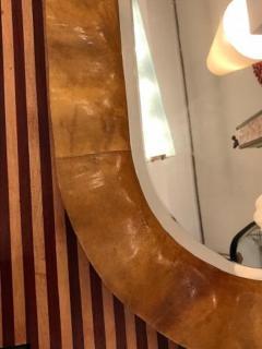 Aldo Tura Aldo Tura Oval Mid Century Wall Mirror in Stained Goat Skin - 1760397