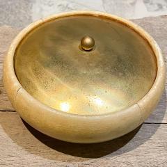 Aldo Tura Aldo Tura for Macabo Covered Dish Lacquered Goatskin Brass Bowl ITALY 1940s - 2083102