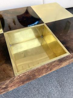 Aldo Tura Coffee Table Bar Lacquered Goatskin and Brass by Aldo Tura Italy 1970s - 1948305