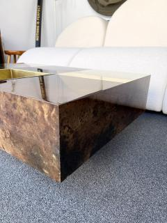 Aldo Tura Coffee Table Bar Lacquered Goatskin and Brass by Aldo Tura Italy 1970s - 1948307