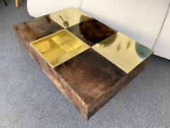 Aldo Tura Coffee Table Bar Lacquered Goatskin and Brass by Aldo Tura Italy 1970s - 1948309