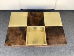Aldo Tura Coffee Table Bar Lacquered Goatskin and Brass by Aldo Tura Italy 1970s - 1948310