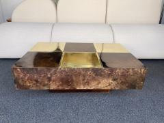 Aldo Tura Coffee Table Bar Lacquered Goatskin and Brass by Aldo Tura Italy 1970s - 1948311