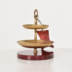 Aldo Tura Divine Red Goatskin Brass Two Tiered Candy Dish by Aldo Tura MILANO 1960s - 1846396