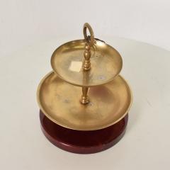 Aldo Tura Divine Red Goatskin Brass Two Tiered Candy Dish by Aldo Tura MILANO 1960s - 1846398