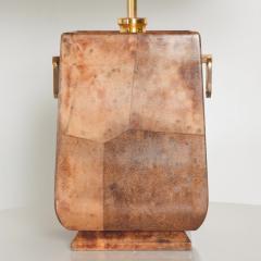 Aldo Tura Exquisite Aldo TURA Table LAMP Lacquered Bronze Burl Parchment with Brass ITALY - 1520505