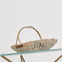 Aldo Tura Macabo Cusano ALDO TURA Designer Carved Wood Brass Basket Milan Italy 1960s - 1536740