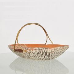 Aldo Tura Macabo Cusano ALDO TURA Designer Carved Wood Brass Basket Milan Italy 1960s - 1536742