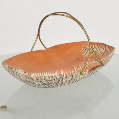 Aldo Tura Macabo Cusano ALDO TURA Designer Carved Wood Brass Basket Milan Italy 1960s - 1536743