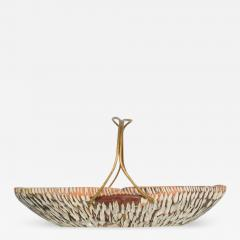 Aldo Tura Macabo Cusano ALDO TURA Designer Carved Wood Brass Basket Milan Italy 1960s - 1537045