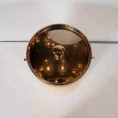 Aldo Tura Mid Century Modern Lacquered Goat Skin and Brass Ice Bucket by Aldo Tura - 1561007
