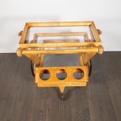 Aldo Tura Mid Century Modern Lacquered Goatskin Brass Bar by Aldo Tura - 1522788
