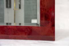 Aldo Tura Rare red Goatskin mirror by Aldo Tura - 1033252