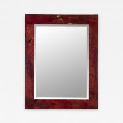 Aldo Tura Rare red Goatskin mirror by Aldo Tura - 1033276