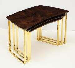 Aldo Tura SET OF THREE NESTING TABLES WITH ALDO TURA LACQUERED PARCHMENT TOPS - 1699940
