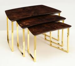 Aldo Tura SET OF THREE NESTING TABLES WITH ALDO TURA LACQUERED PARCHMENT TOPS - 1699942