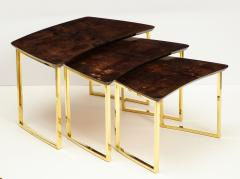 Aldo Tura SET OF THREE NESTING TABLES WITH ALDO TURA LACQUERED PARCHMENT TOPS - 1699944