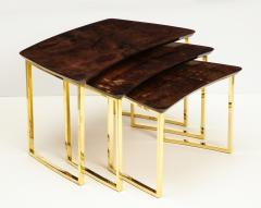 Aldo Tura SET OF THREE NESTING TABLES WITH ALDO TURA LACQUERED PARCHMENT TOPS - 1699947