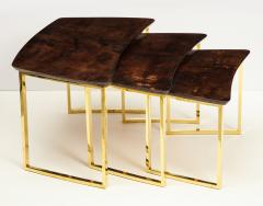 Aldo Tura SET OF THREE NESTING TABLES WITH ALDO TURA LACQUERED PARCHMENT TOPS - 1699953
